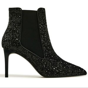 "Zara ""Meteor"" Black Glitter Stiletto Ankle Boots"